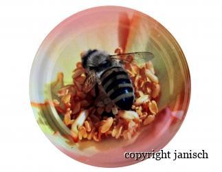 Deckel; *Biene auf Blüte*  für 1000g und 500g Gläser Bild