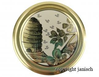 Deckel gold *Bienenkorb und Blüten*  für 1000g und 500g Gläser Bild
