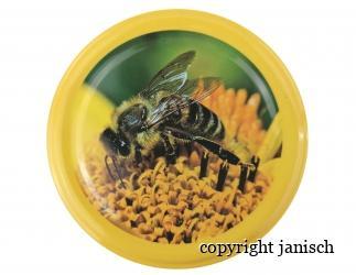 Deckel *Biene auf Blüte* gelber Rand für 1000g und 500g Gläser Bild