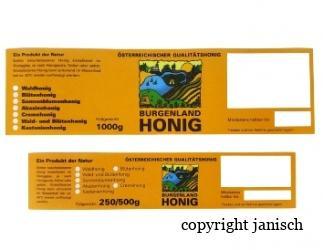 Etiketten/Burgenland; gummiert; 100 Stk. Packungen für 1000 g, 250 g/500 g Gläser Bild