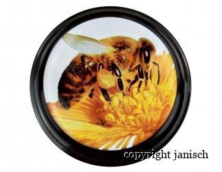 Deckel *Biene* breiter schwarzer Rand für 1000 g und 500 g Gläser Bild