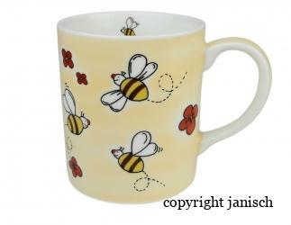 Keramik Tasse, Beige mit Bienenmotiv Bild