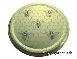 Deckel gold- 5 Bienen; für 1000g, 500g und 250g Gläser.  Bild