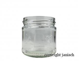 Honigglas 250g , Bienenkorb/ Imkerbund; inkl. Deckel gold (20 Stk. Packung) Bild