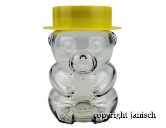 Honig Bär aus Glas mit Deckel und Plastikkappe Bild