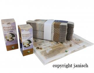Propolistropfen Verpackung (50 Stk. Packung); inkl. Flaschenetikett, Beipackzettel für 50 ml; 30 ml; 20 ml. Bild