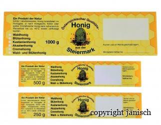 Etiketten/Steiermark; gummiert; 100 Stk. Packungen für 1000g, 500 g und 250 g Gläser Bild