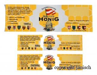 Etiketten / ÖIB gummiert; 100 Stk. Packungen für 1000 g, 500 g und 250 g Gläser Bild