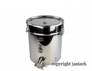 Abfüllbehälter 35 kg aus Edelstahl mit Auflagedeckel Bild